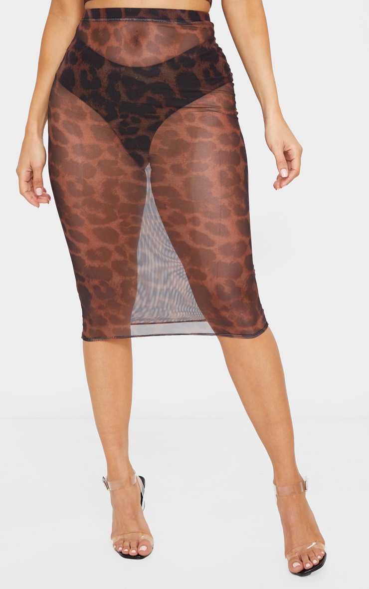 Brown Leopard Print Mesh Midi Skirt 2