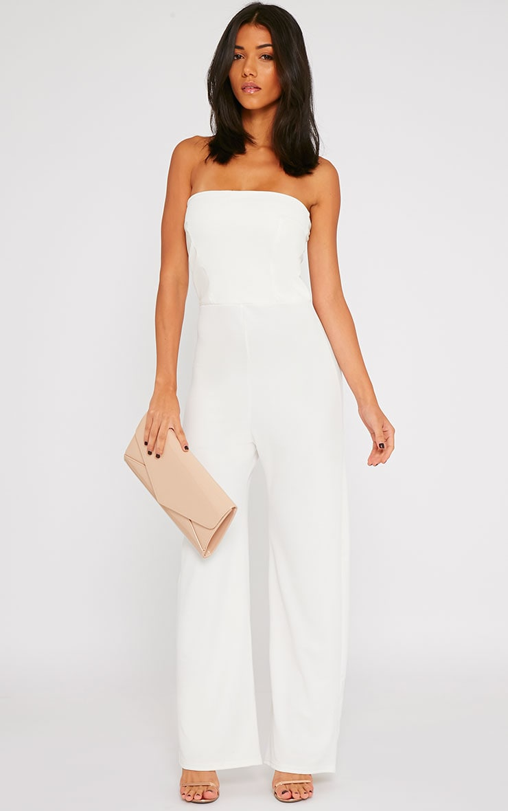 Cilla Cream Bandeau Leather Panel Wide Leg Jumpsuit 3