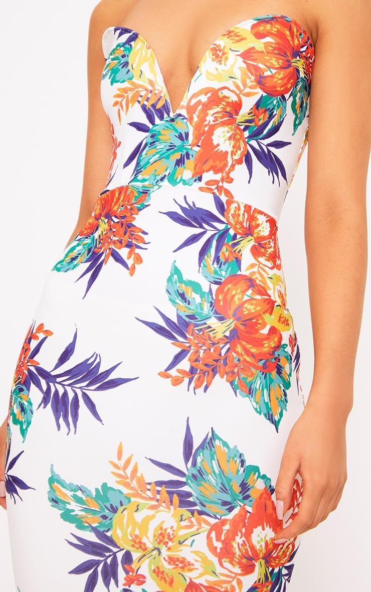 White Tropical Print Bandeau Bodycon Dress 5