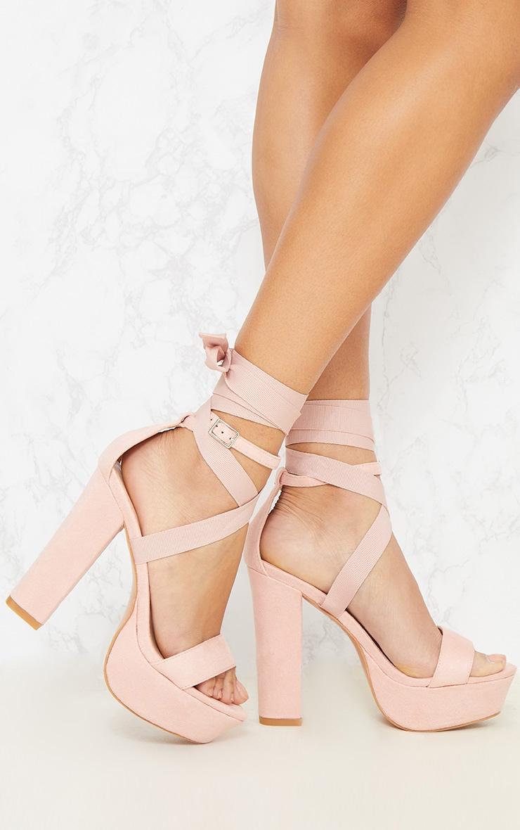 Nude Leg Wrap Platform Sandal