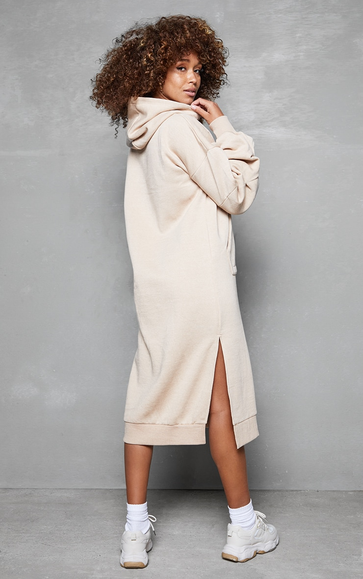 Beige Oversized Hooded Split Side Midi Dress 2