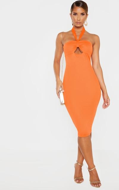3ff43eec1d7 Robe dos nu moulante orange vif torsadée devant