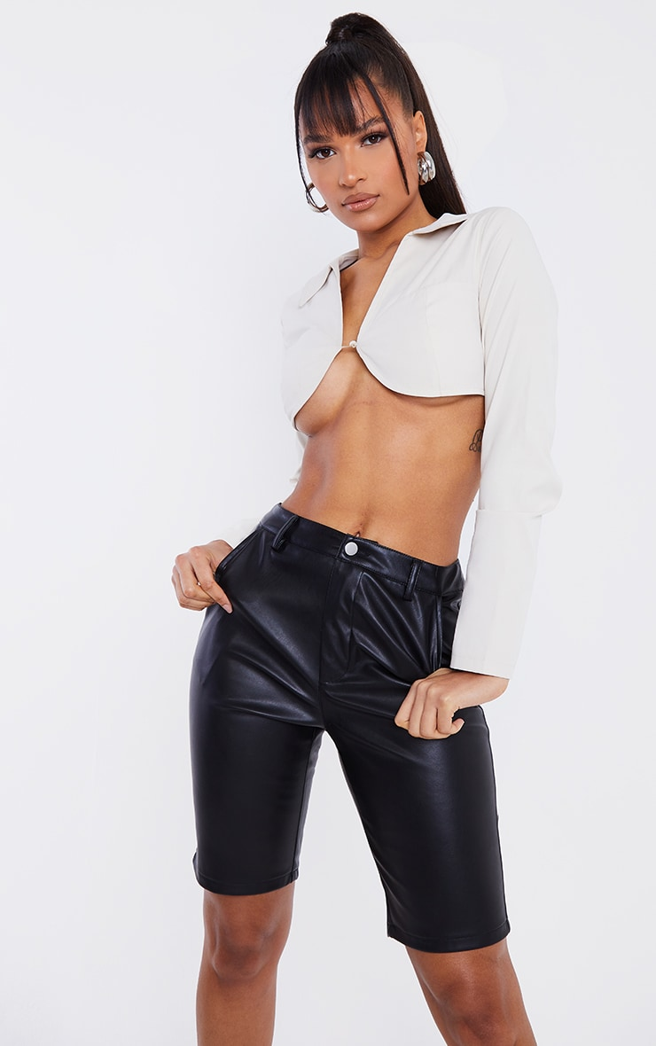 Black Faux Leather Button Up Cycle Shorts 4
