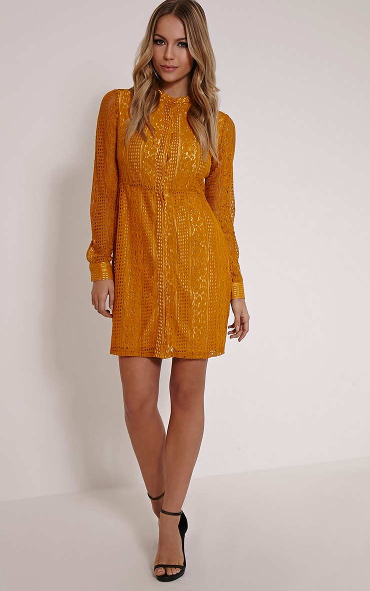 Maisi Mustard Long Sleeve Lace Shirt Dress 1