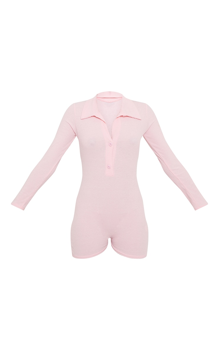 Baby Pink Button Down Rib Romper 5