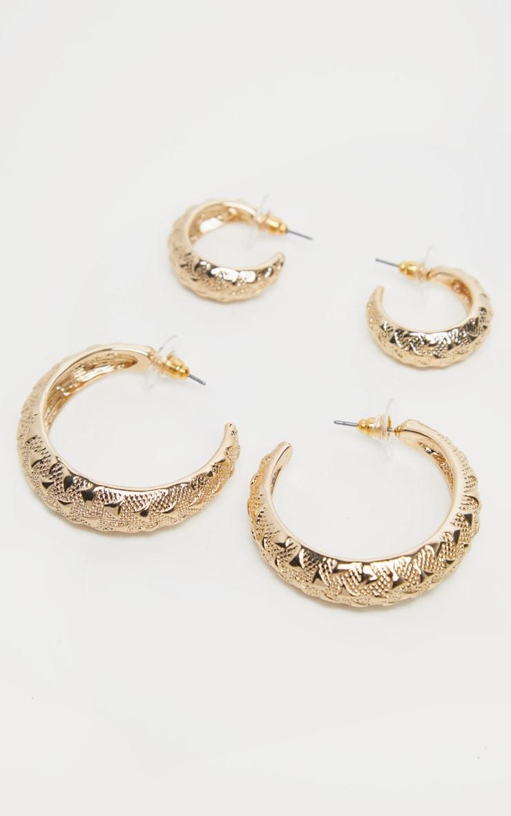 Gold Diamond Textured Two Pack Hoop Earrings 1