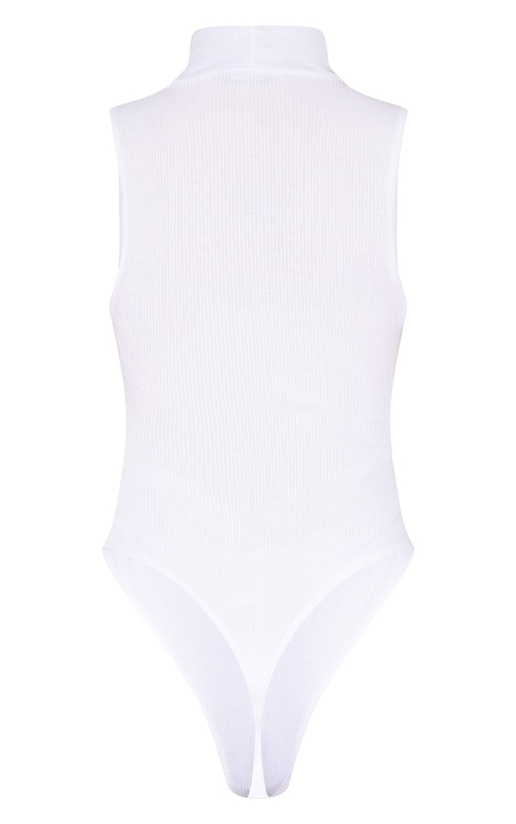 Tall White Sleeveless Rib High Neck Bodysuit 4