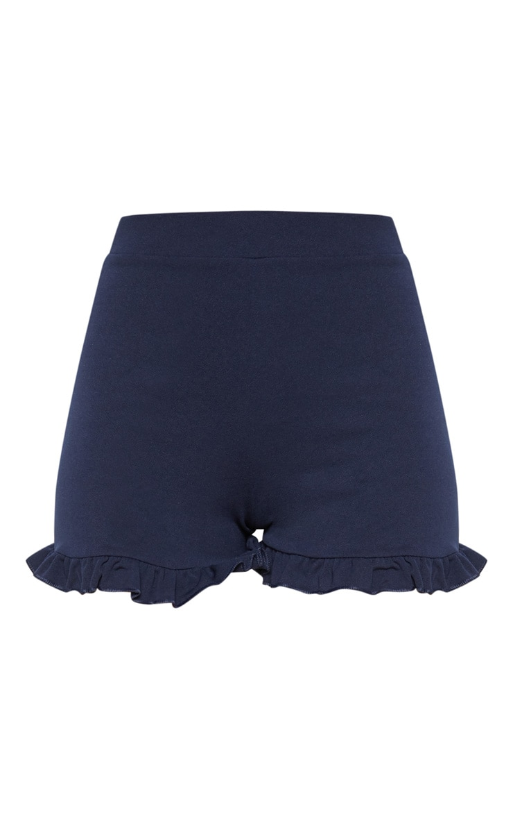 Navy Frill Hem Shorts 3
