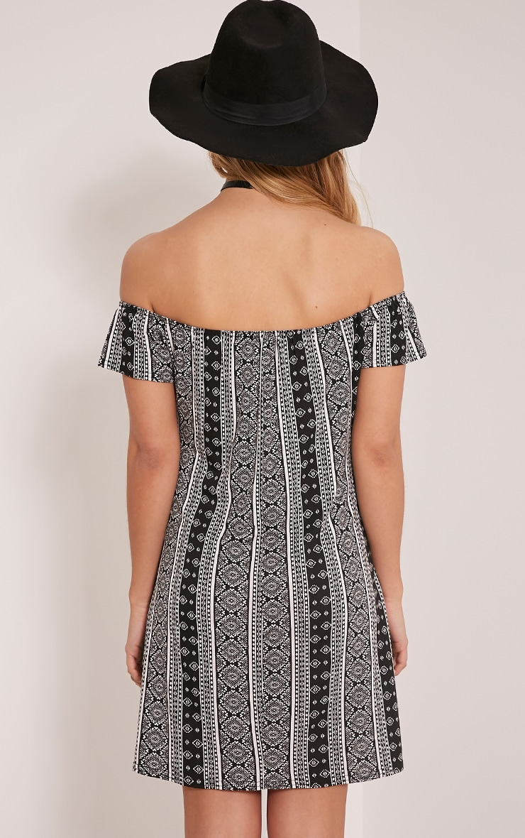 Sadia White Aztec Bardot Mini Dress 2