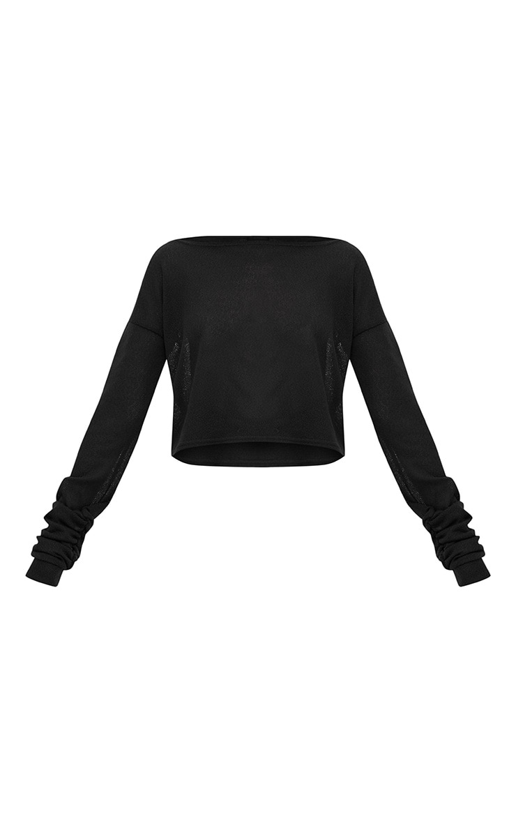 Black Lightweight Knit Ruched Sleeve Crop Top  3