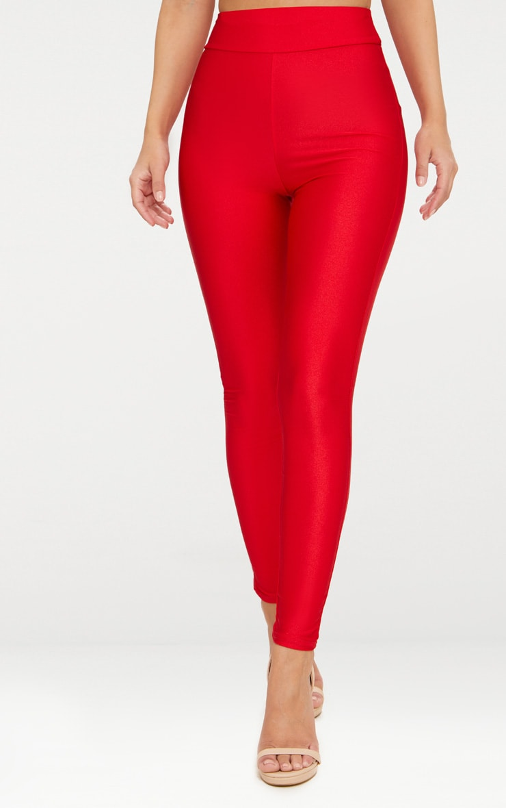 Petite Red Disco Slinky High Waisted Leggings 2