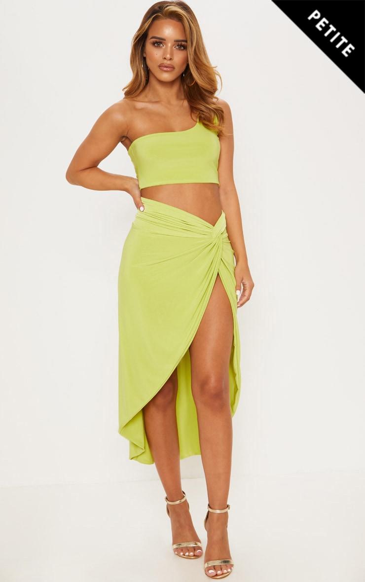 Petite Lime Slinky Knot Front Midi Skirt