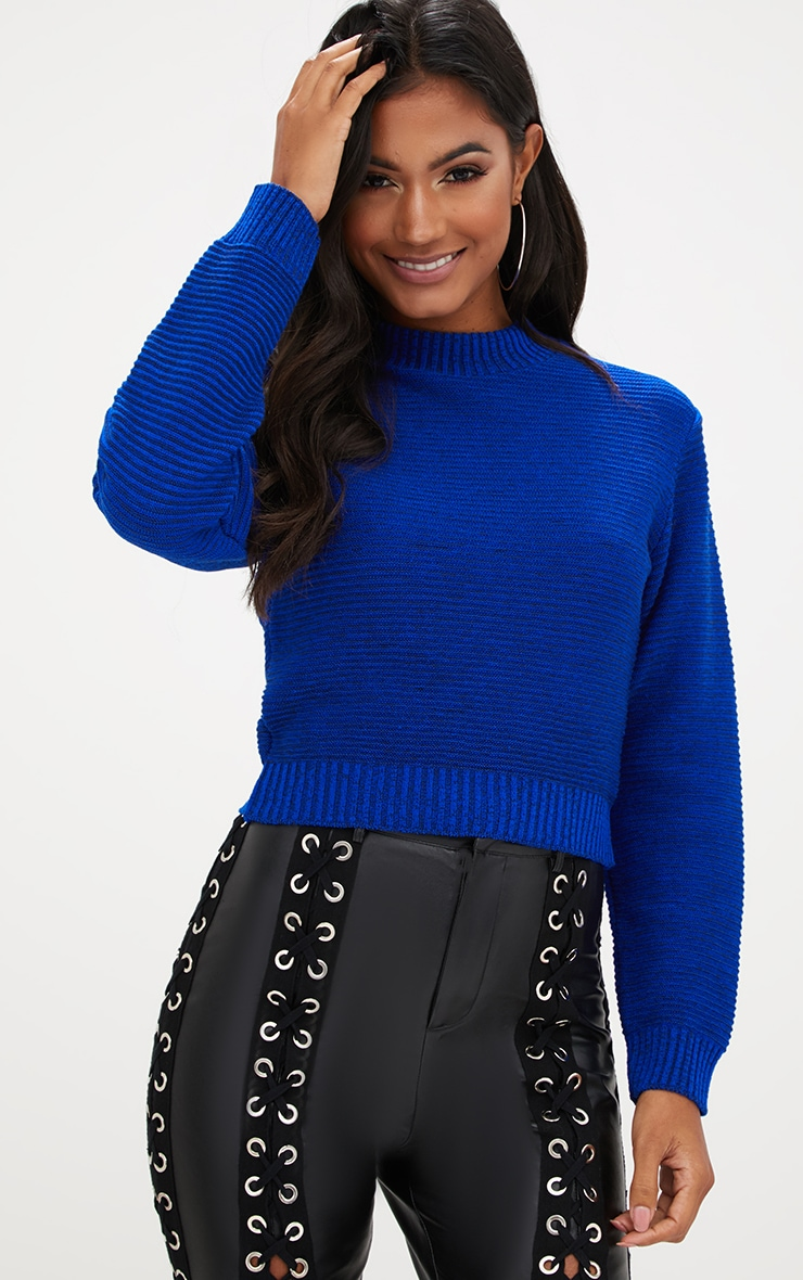 Cobalt Ribbed Cropped Knitted Jumper 1
