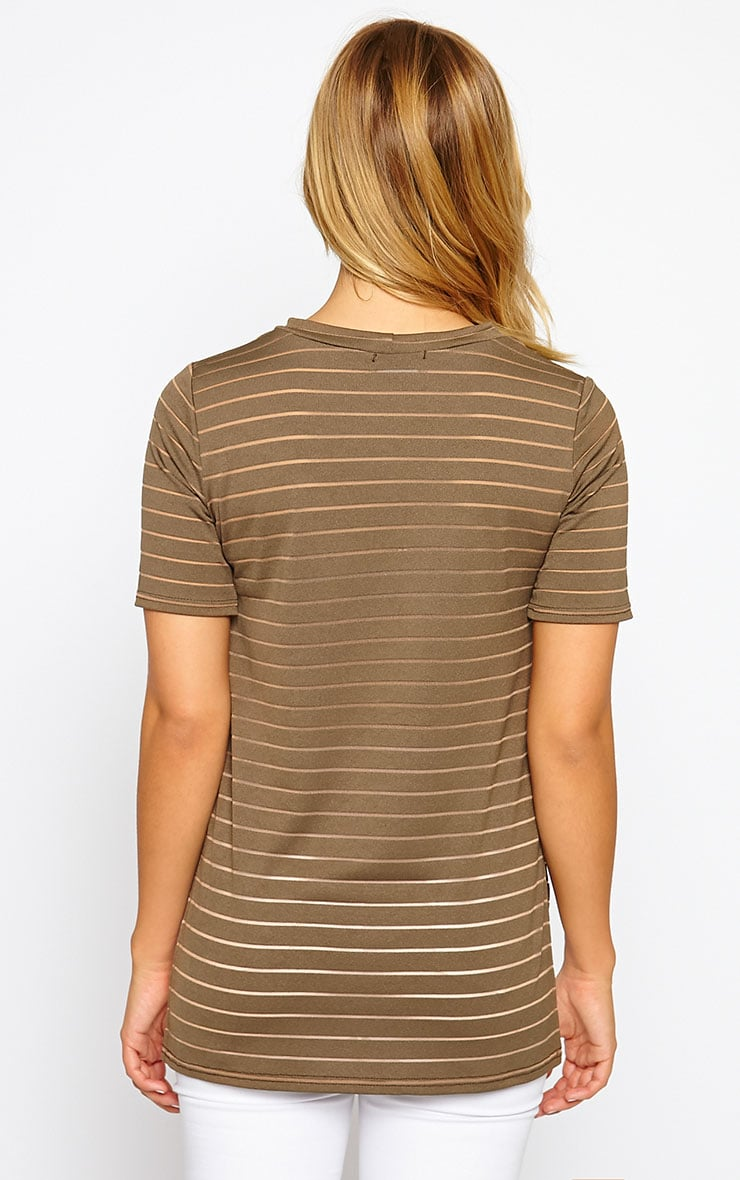 Elodie Khaki Stripe Burnout T-Shirt 2