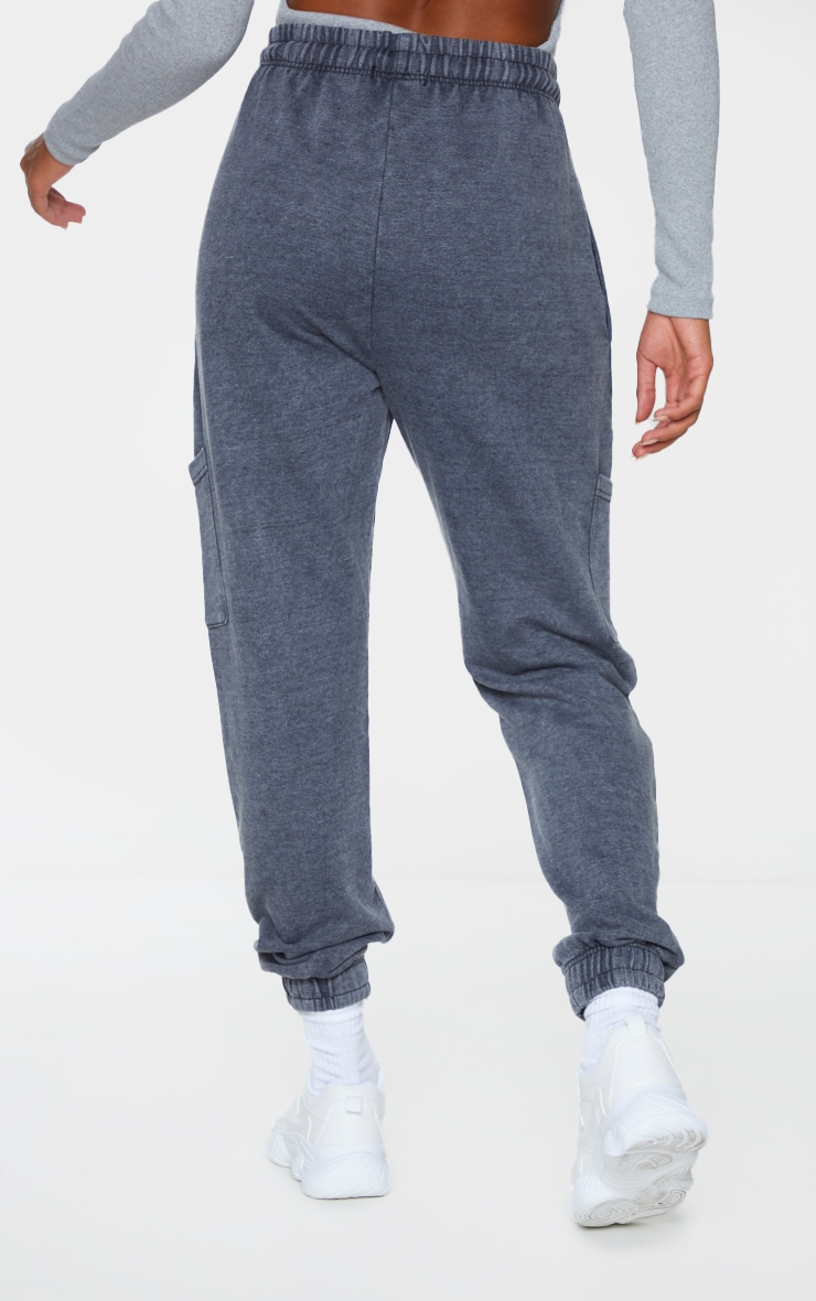 Grey Acid Wash Pocket Detail Casual Joggers 3