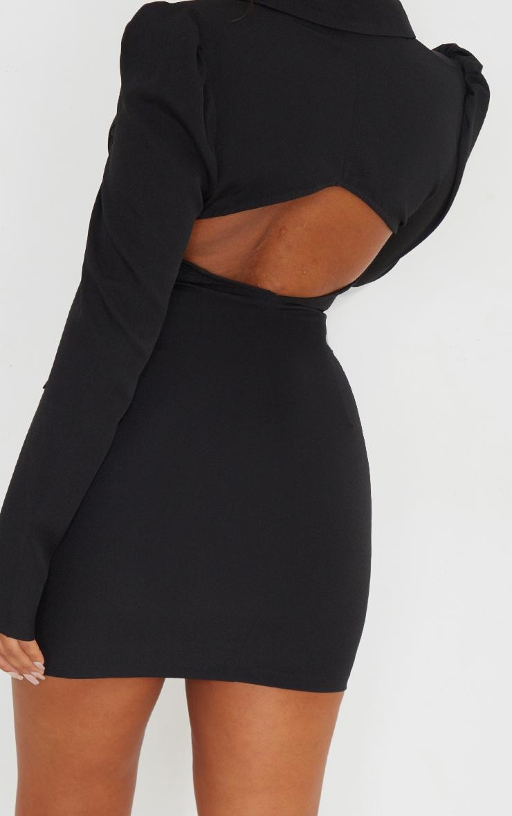 Black Long Sleeve Open Back Blazer Dress 4