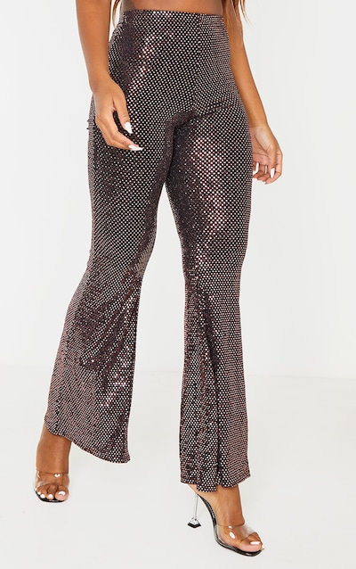 Bronze Sequin High Waisted Flared Trousers