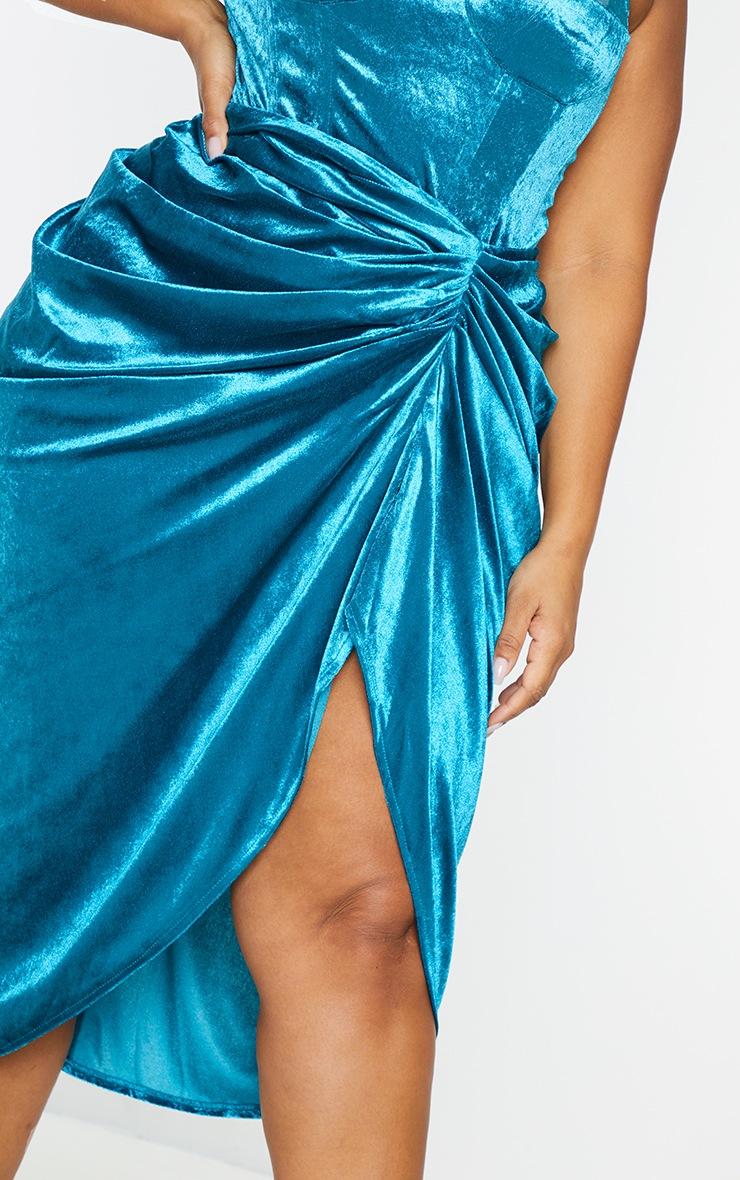 Plus Teal Velvet Ruched Side Midi Skirt 4