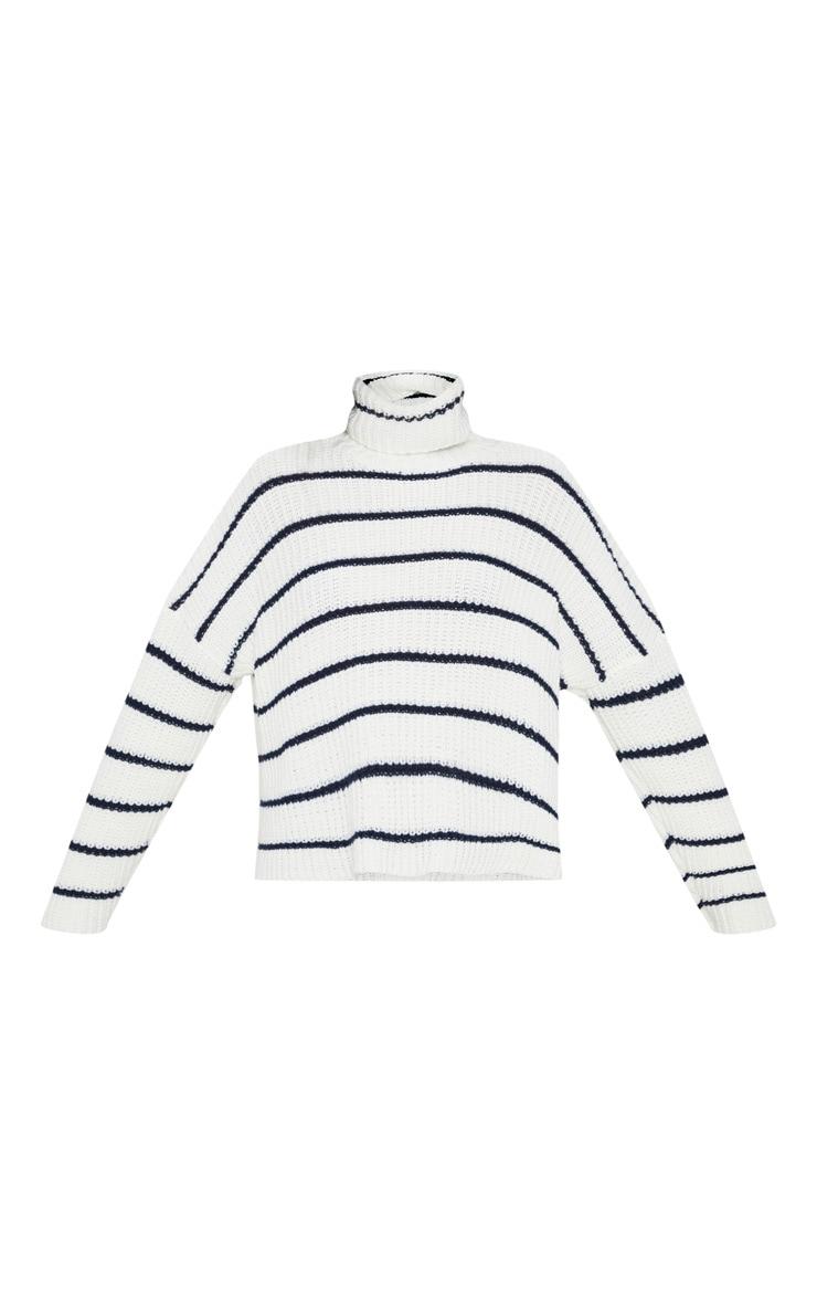 Cream Stripe Detail High Neck Sweater 3