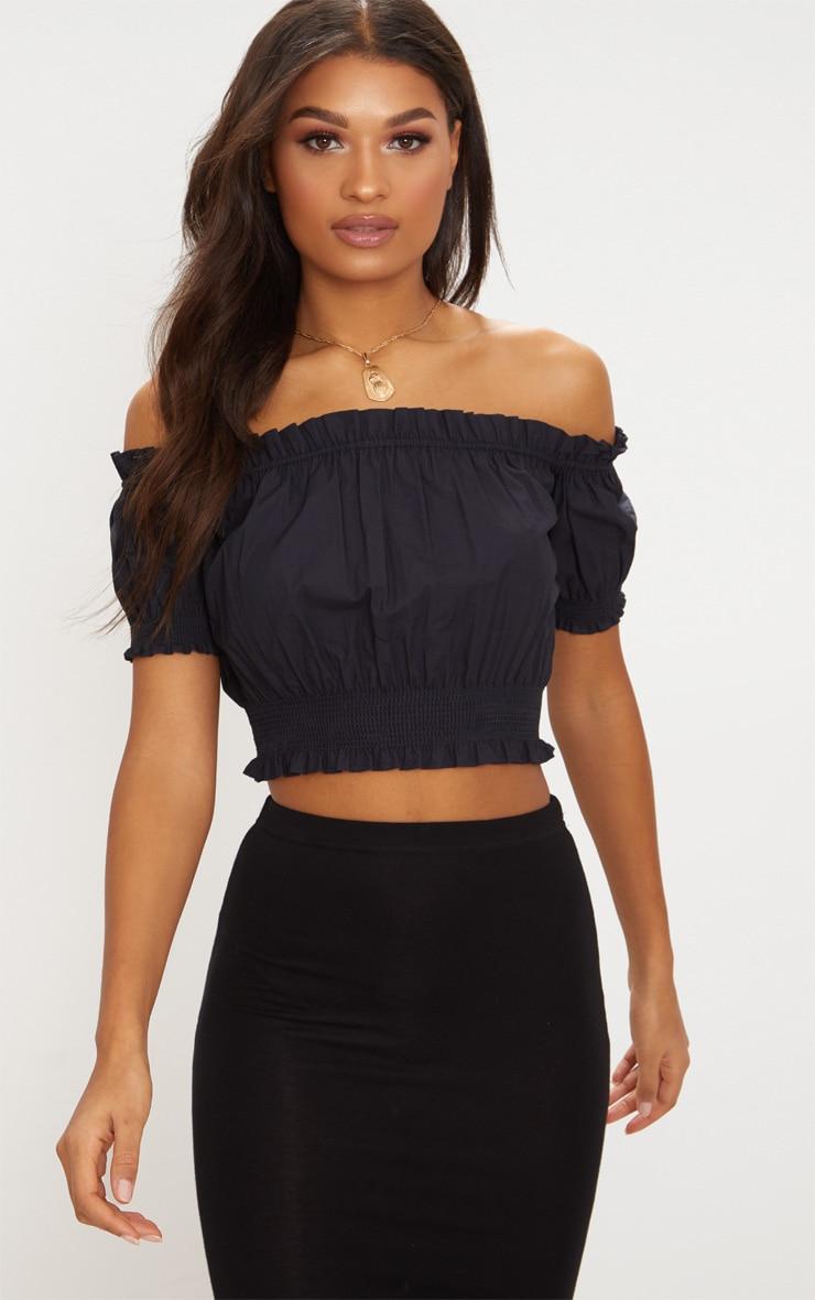 Black Ruched Sleeve Bardot Crop Top 1