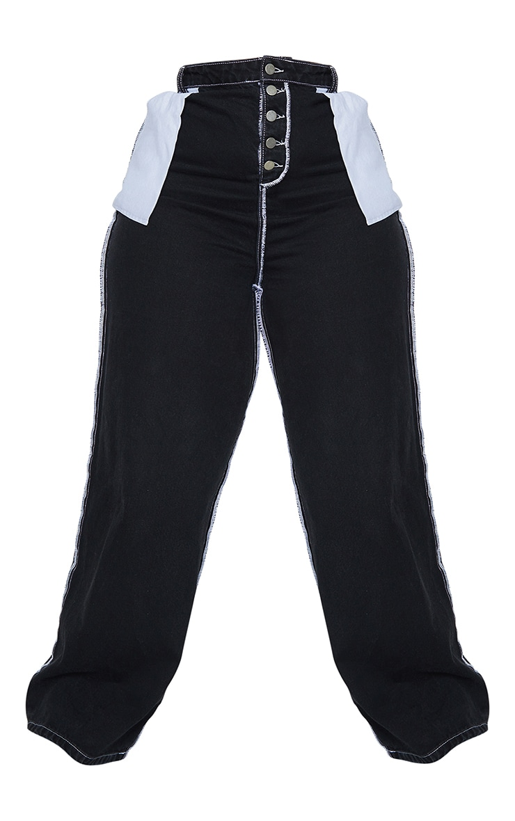Plus Black Wide Leg Denim Jeans 5