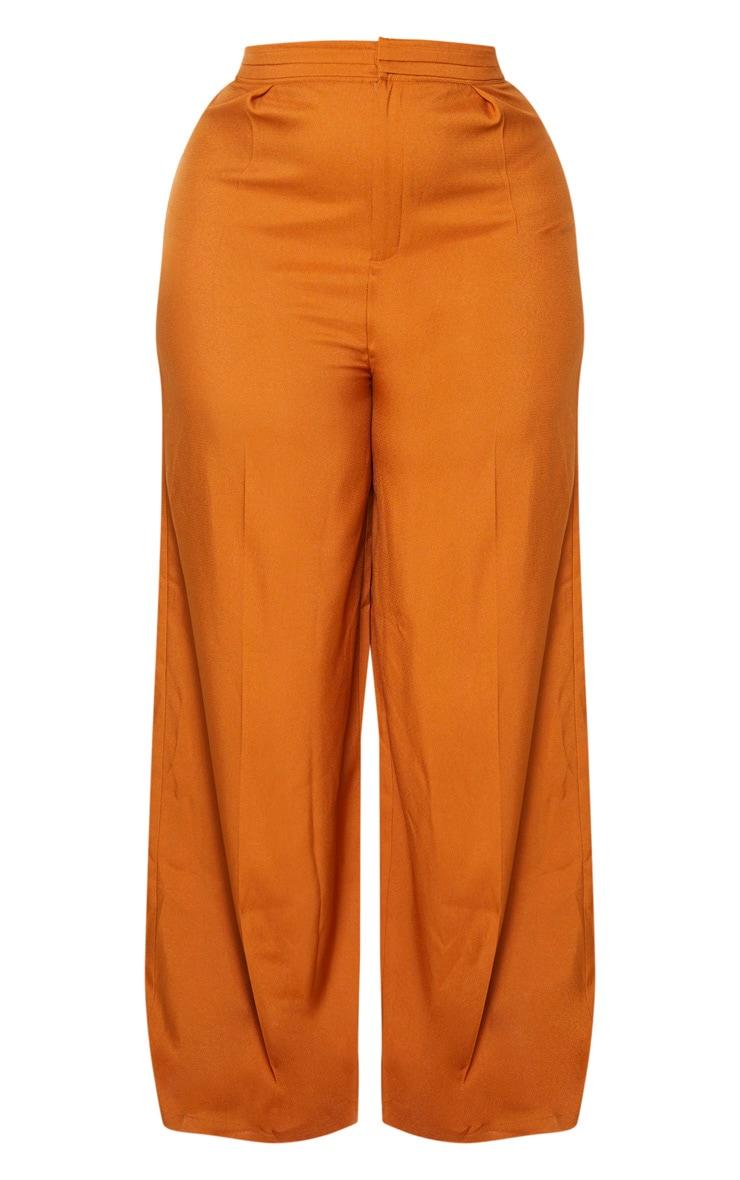 Plus Rust Woven Pleat Detail Waistband Wide Leg Pants 3