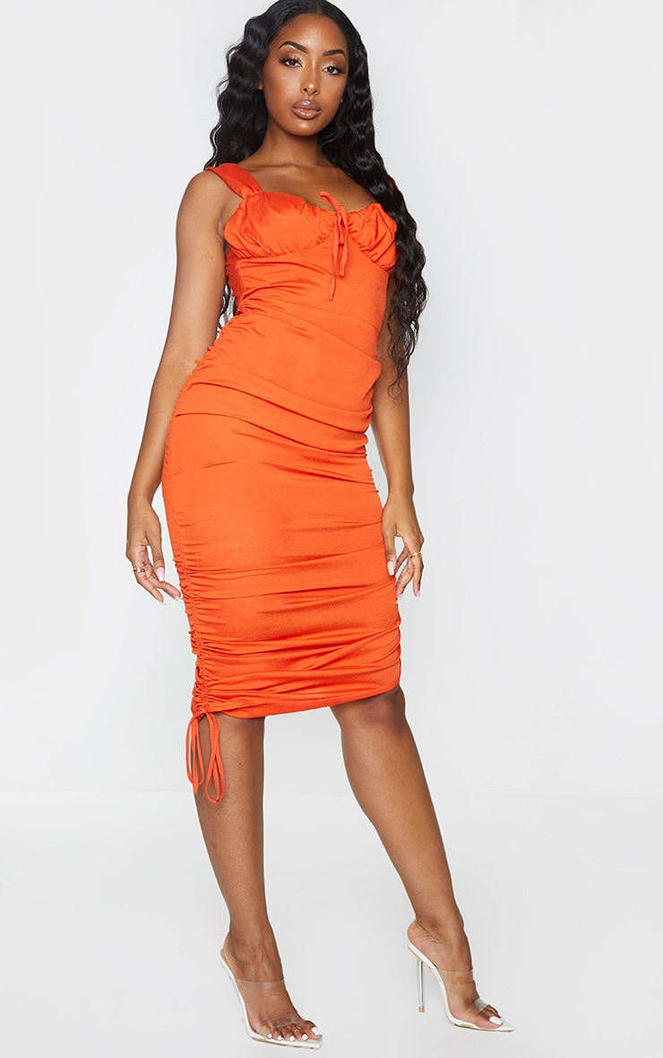 Orange Sleeveless Ruched Side Bust Detail Midi Dress 3