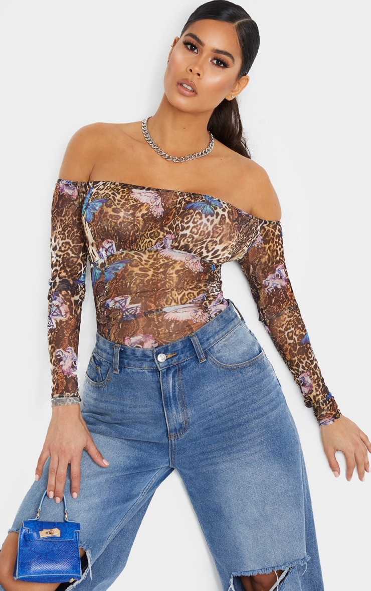 Tan Sheer Leopard Butterfly Print Gathered Bardot Bodysuit 1