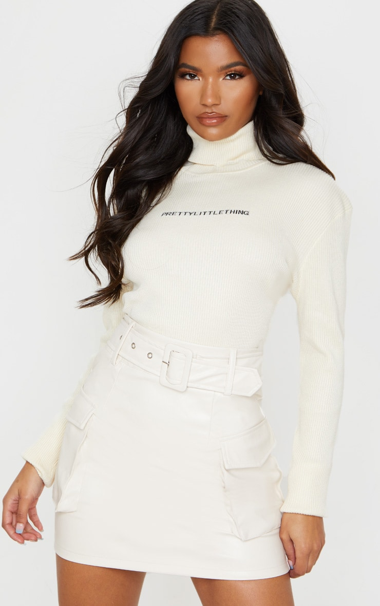 Cream Faux Leather Belted Cargo Pocket Mini Skirt 5