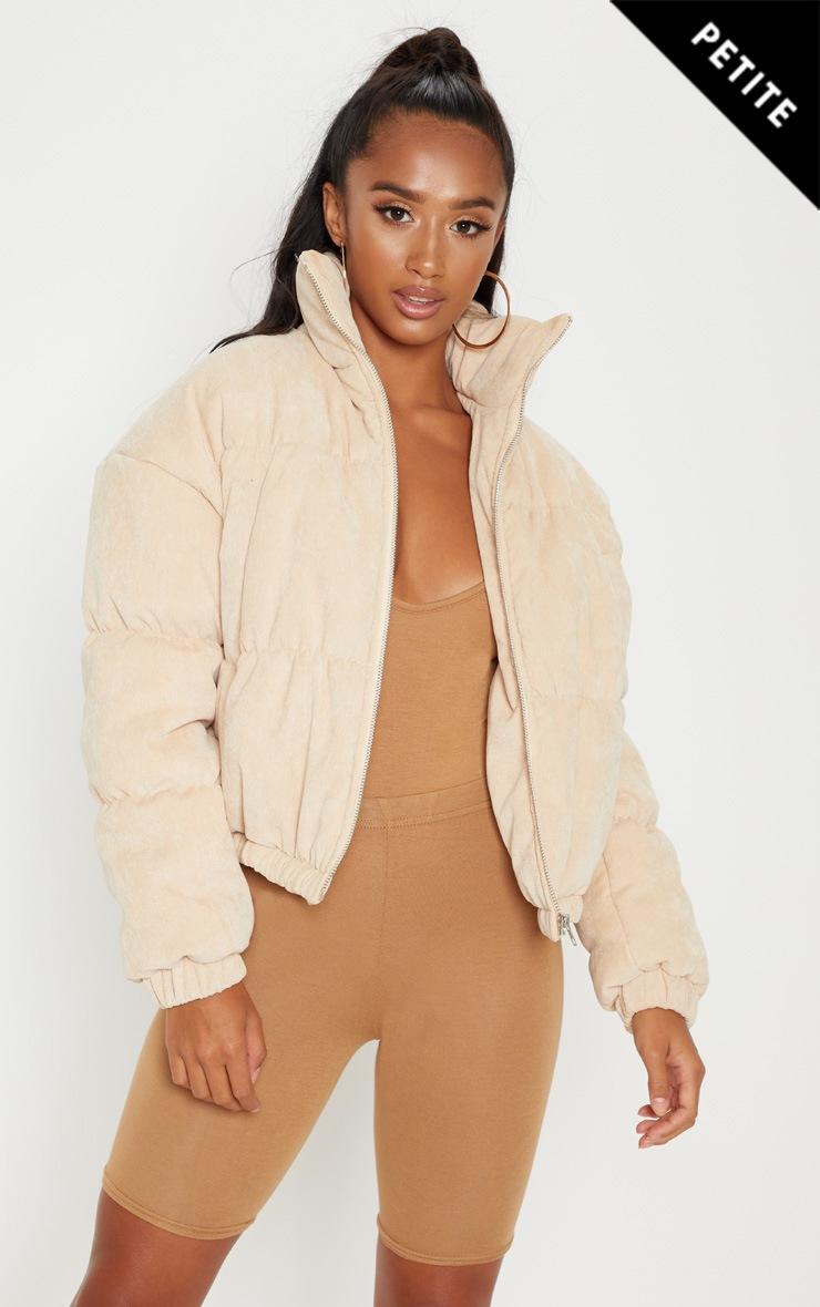 Petite Beige Cord Puffer Jacket