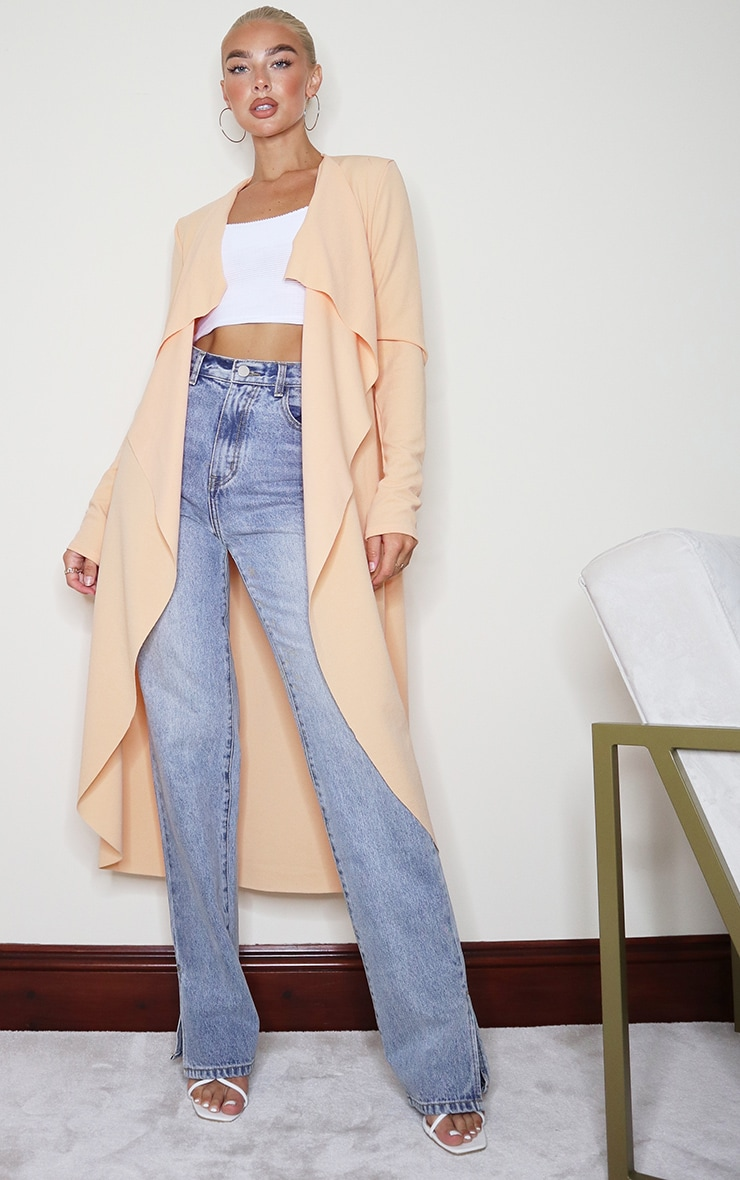 Peach Waterfall Maxi Duster Jacket 1