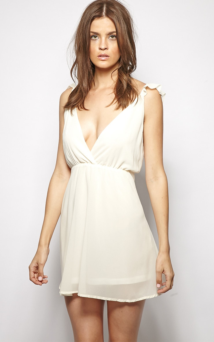 Corinne Cream Chiffon Babydoll Dress 1