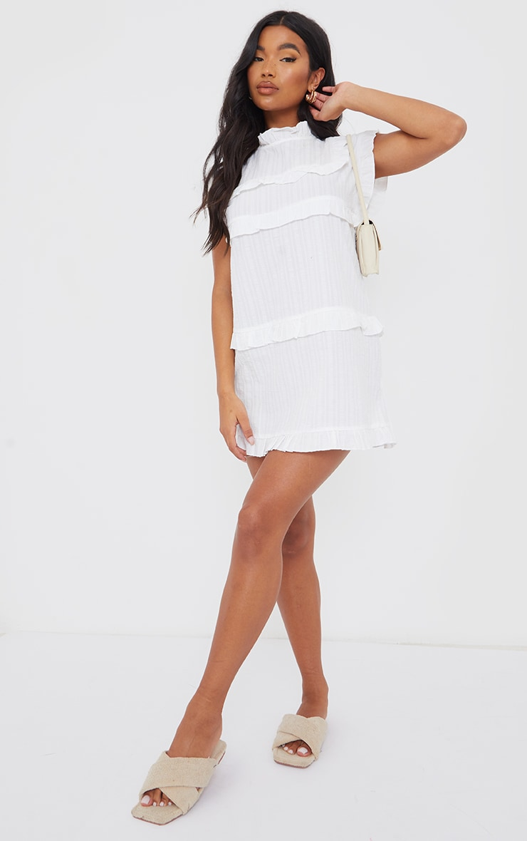 White Textured Frill Tiered Detail Cap Sleeve Shift Dress 3