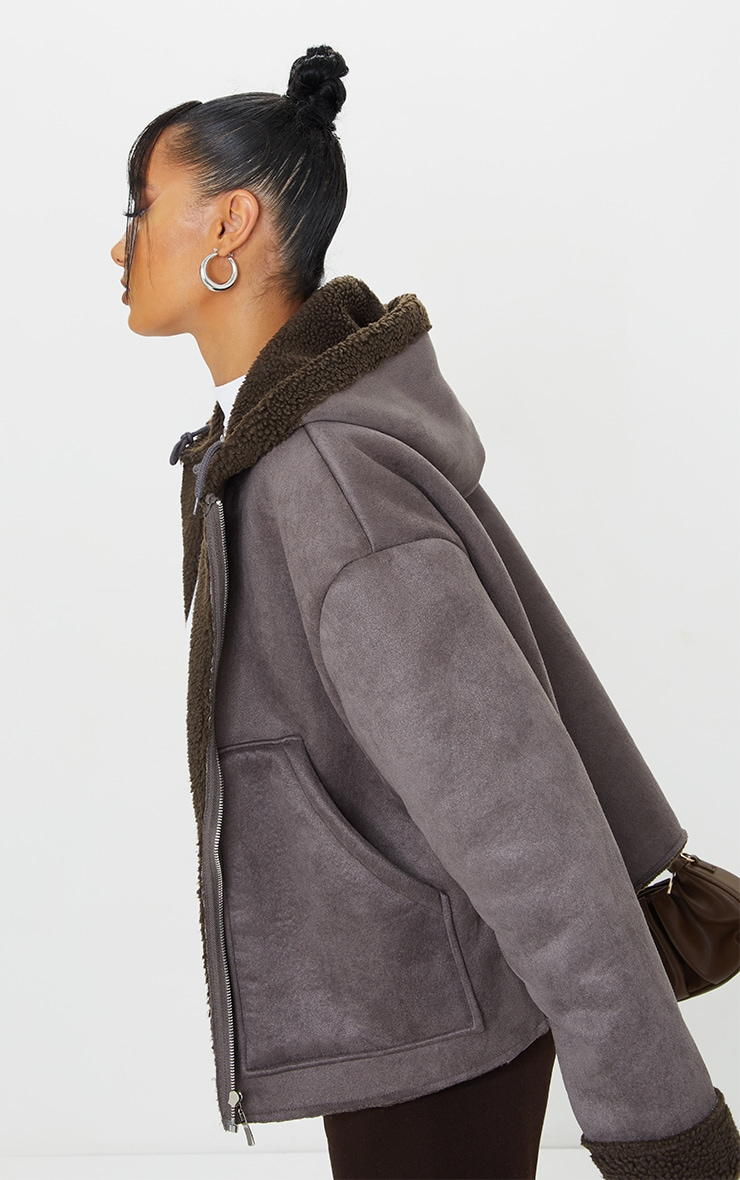 Charcoal Faux Suede Borg Lined Hooded Jacket 4