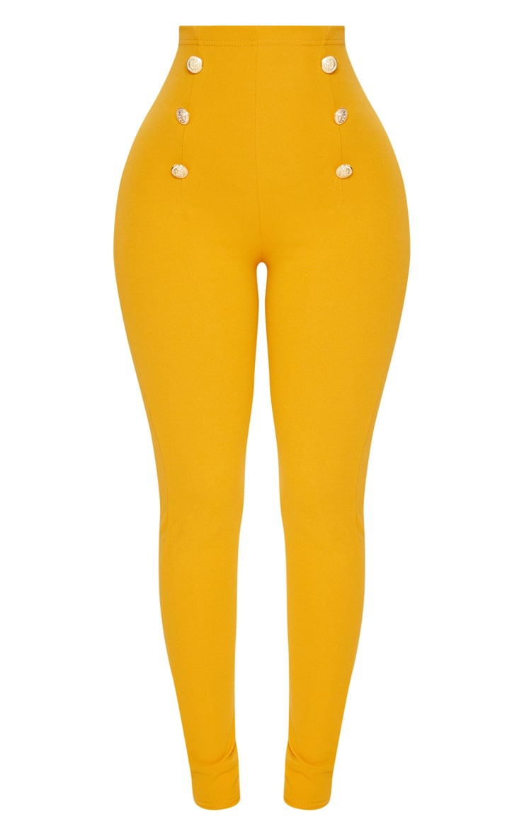 Shape Mustard Military Button Skinny Trousers 3
