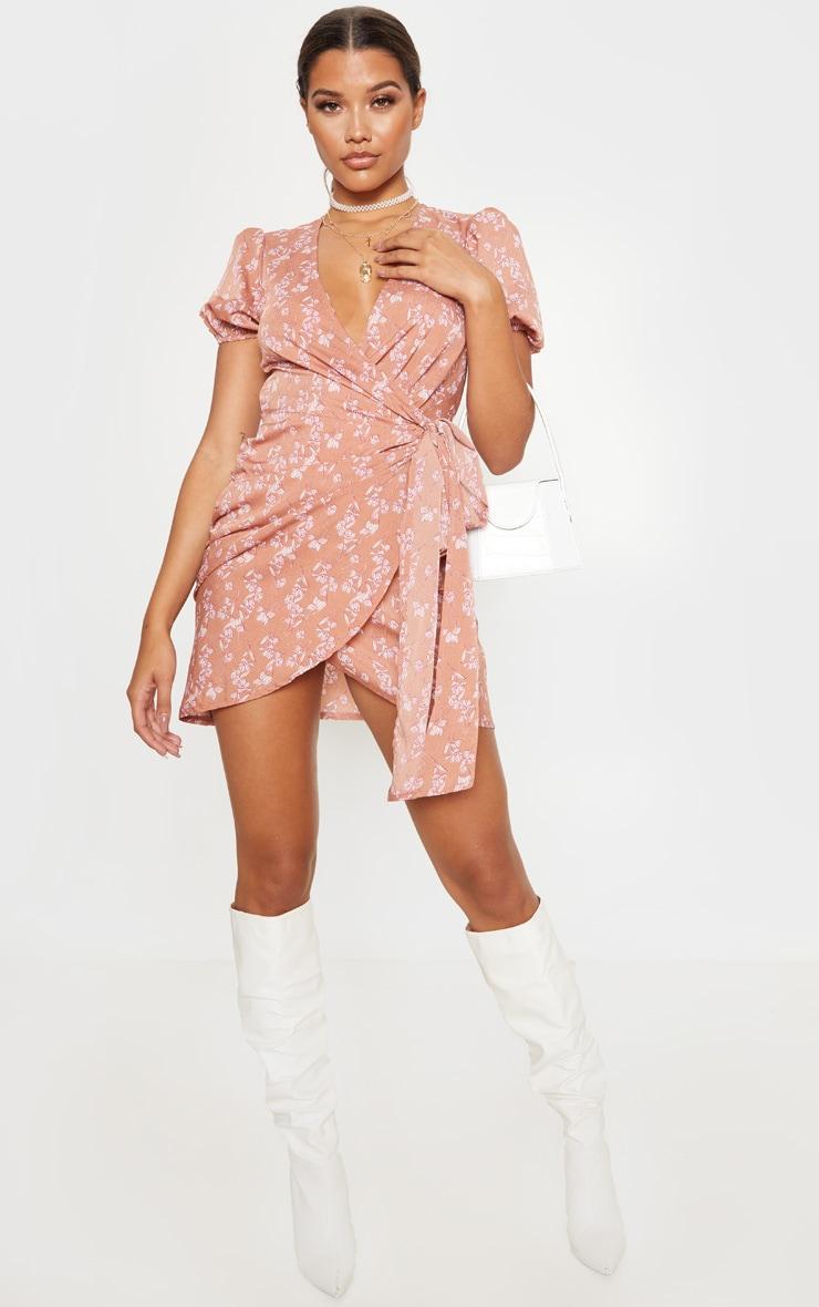 Pink Floral Print Tie Side Puff Sleeve Tea Dress 1