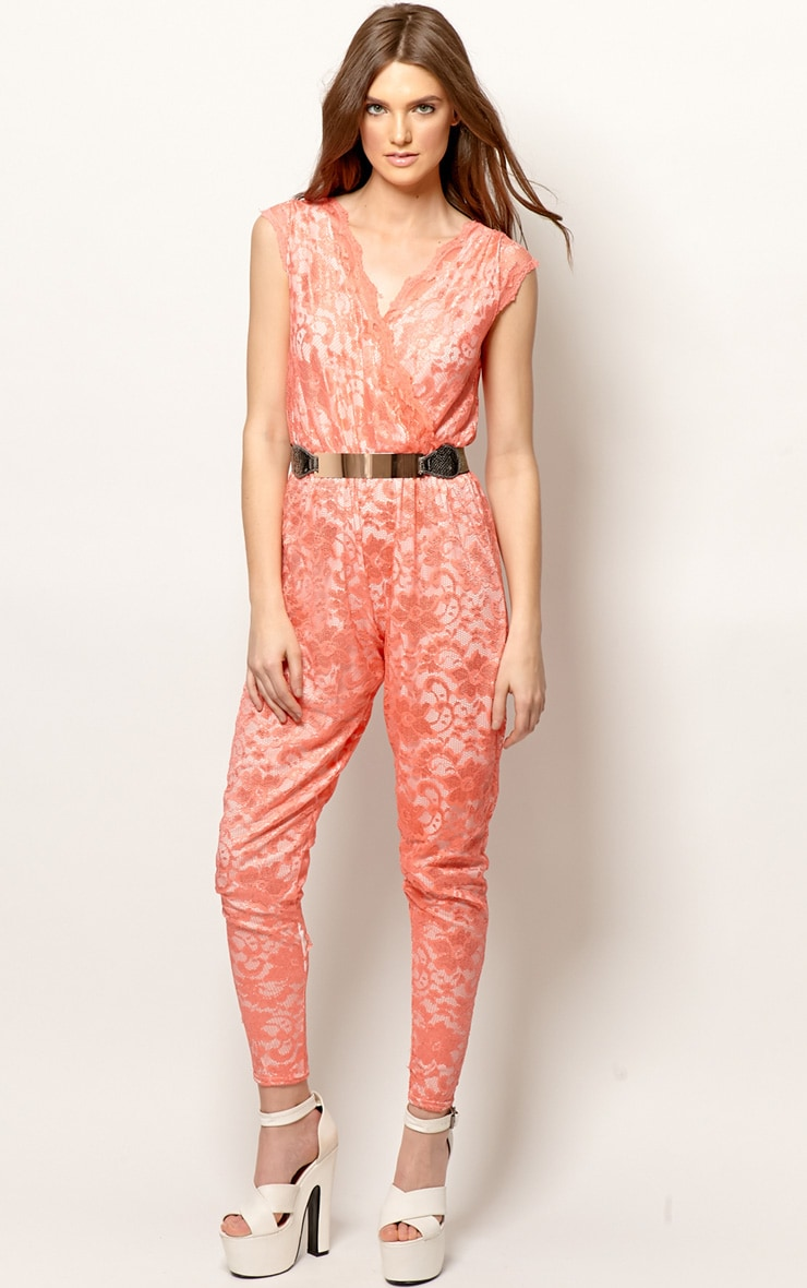 Angelica Coral Lace Jumpsuit 1