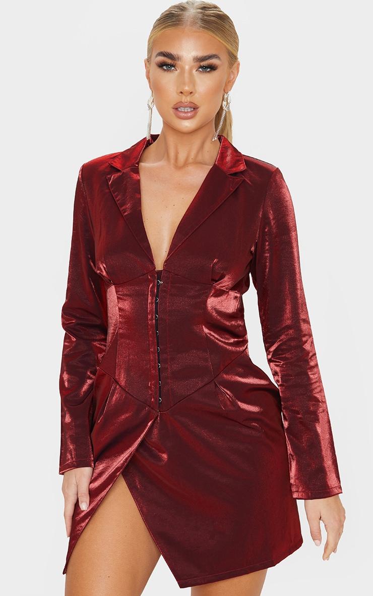 Red Metallic Long Sleeve Corset Pannel Blazer Dress 1