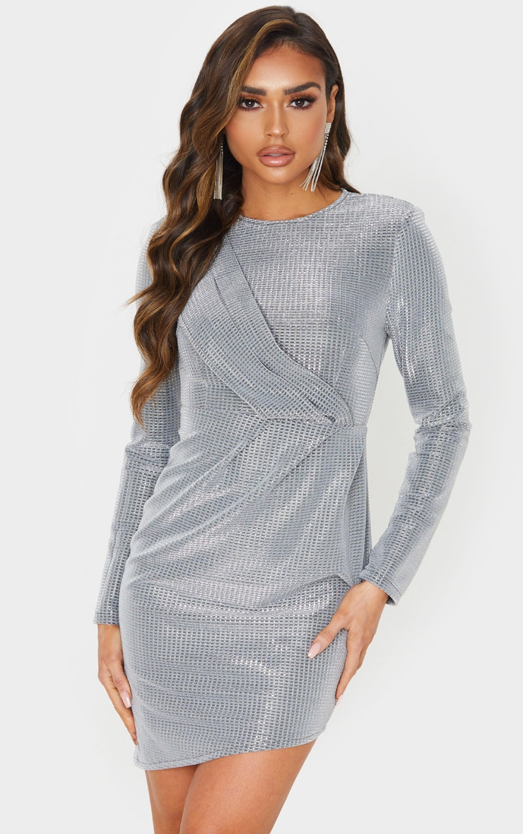 Silver Metallic Glitter Long Sleeve Drape Detail Bodycon Dress 1