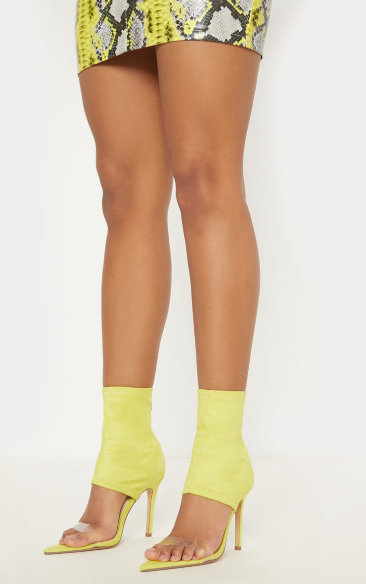 Yellow Point Toe Lycra Sock Boot 1