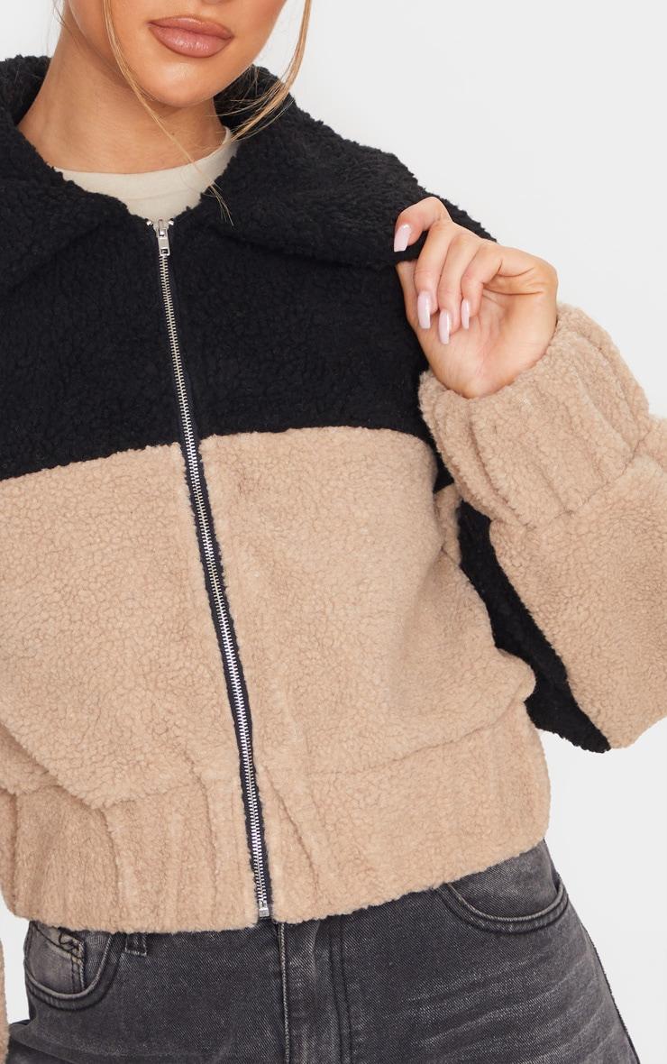 Black Borg Contrast Panel Zip Through Jacket 5