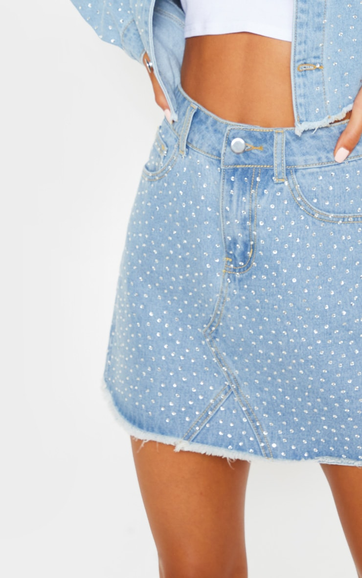 Light Wash Diamante Denim Skirt 7