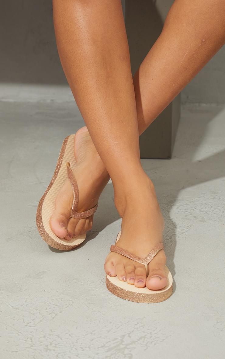 Gold Glitter Flip Flops 2