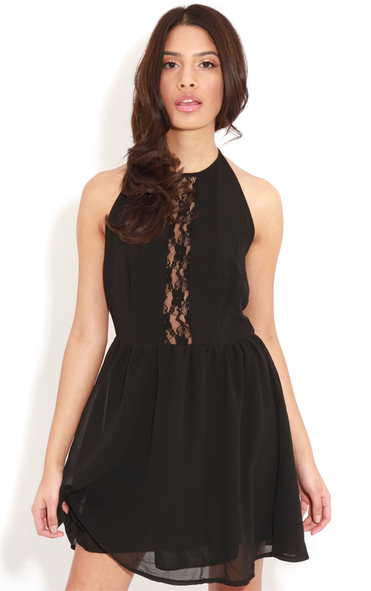 Lisa-Ann Black Lace Panel Halterneck Dress 1