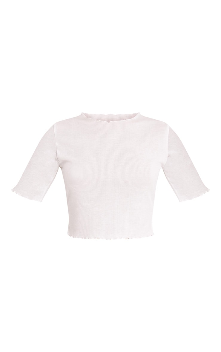 Kassie Cream Frill Edge T Shirt 3