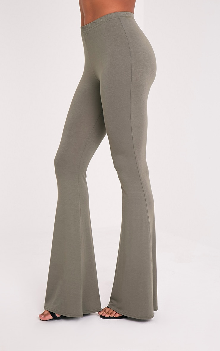 Basic Khaki Jersey Flared Pants 4