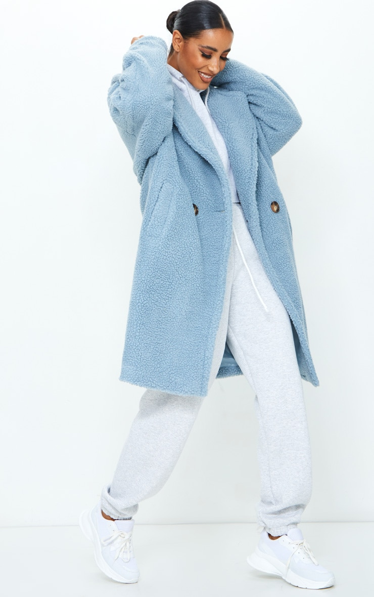 Dusty Blue Borg Drop Arm Midi Coat 3