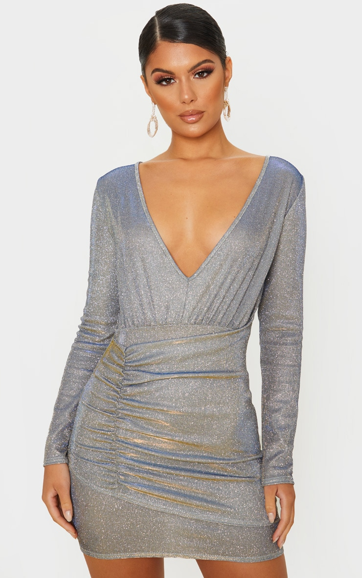 Silver Iridescent Glitter Long Sleeve Ruched Panel Bodycon Dress 1