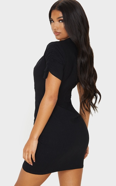 Black Linen Ruched Sleeve Deep Plunge Bodycon Dress