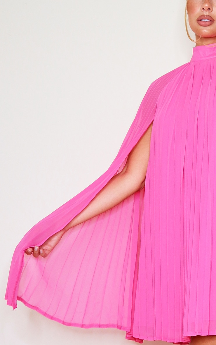 Bright Pink Pleated Cape High Neck Shift Dress 4